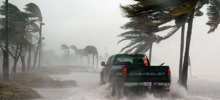 Truck driving in Key West in high winds